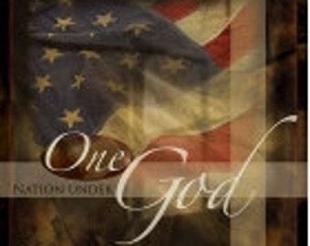"Patriotic Wall Decor, One Nation Under God,12""x12"" Patriotic,Flag,One God,Marla Rae,MA125"