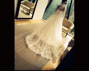 Wedding Veil Single Tier Cathedral Cut Edge Extra Fullness, Bridal Veil CE120X105