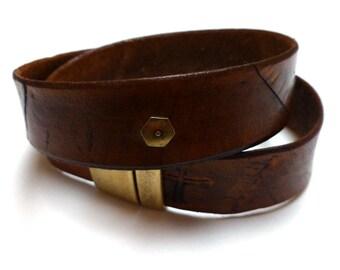 Leather Wrap Bracelet. Leather Choker. Natural. Cross Embossed. Statement Bracelet. Vegetable Tanned. Eco Friendly.