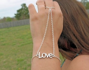 Love Finger Ring/Hand Harness Slave Bracelet