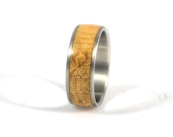 Wood Ring - Maple Burl Wood Ring with Stainless Steel Core, Wood Ring, Wedding Ring, Wedding Band, Engagement Ring