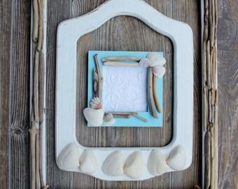 Boho Beach Room Wall Art , Coastal Home Frame Gallery , Driftwood Decor and Shell Frame