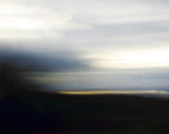 "Abstract dark landscape photography nature blue black yellow rustic surreal - ""Lake sunset"" 8 x 10"