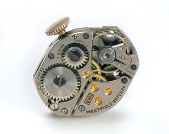 Steampunk Vintage Watch Movement Tie Tack Lapel Pin