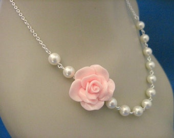 Bridesmaid Jewelry Soft Pink Fashion Rose Bridal Necklace