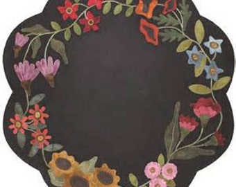 "Primitive Gatherings Wool Applique' Pattern ""Garden BloomsTable Mat"" by Lisa Bongean"
