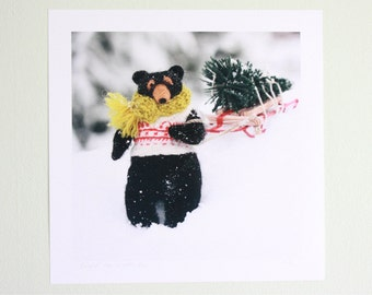 Felted Rudyard Bear winter snow nursery animal art print for a boy or girl--white, green, chartreuse yellow, red, black