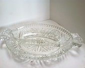 Oval Clear Cut Glass Divided Relish Tray, Candy Dish, Nut Dish