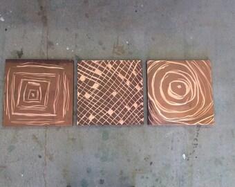 Copper 3 Piece Grinder Art/ Modern