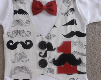 Mustache Birthday Vest and Bow Tie shirt