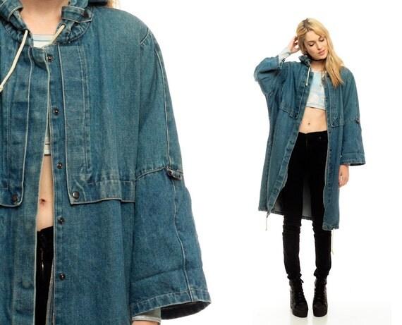 Hooded Denim Jacket Long GRUNGE 80s Jean Jacket by ShopExile