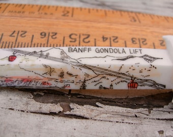 Banff Gondolas Celluloid Mini Letter Opener Pencil Sharpener Pre Mid Century Free Ship USA