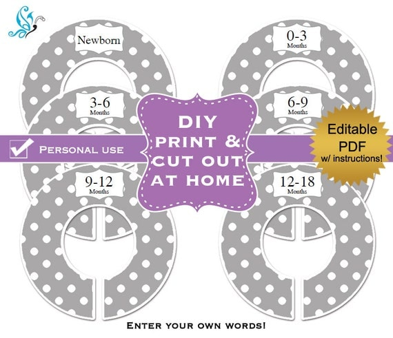 Pdf editable printable diy baby closet by digitaldoodlebug for Clothes divider template