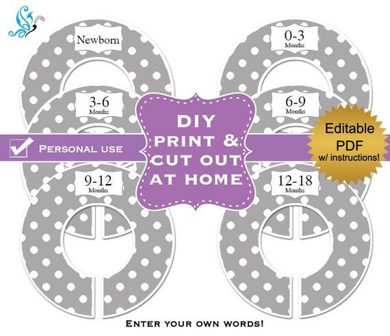 clothes divider template - pdf editable printable diy baby closet by digitaldoodlebug