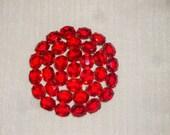 Large 40's Vintage Clear Red Crystal Brooch
