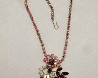 Vintage Cranberry and Aurora Borealis Rhinestone Necklace