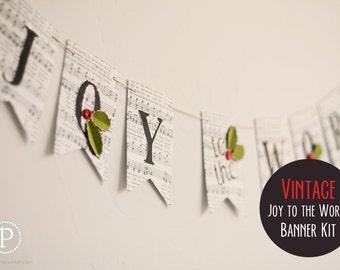 DIY Vintage Joy to the World Banner (4')