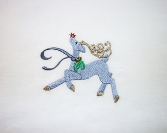 Blue & Metallic Reindeer (9) Machine Embroidered Quilt Blocks