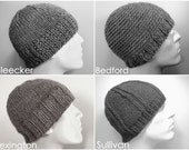 Mens 100% Baby Alpaca Knit Hat Beanie, Custom Made Knitted in Your Choice of 8 Designs and 48 Colors