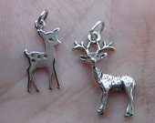 Sterling Silver Fawn or Deer Charm(one, or two charms)