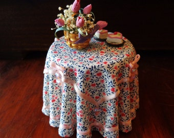 1/12 Scale (Dollhouse) Valentine Double Cloth Covered Table with Tiny Pink AB Glass Heart Decorations - Indoor Fairy Garden