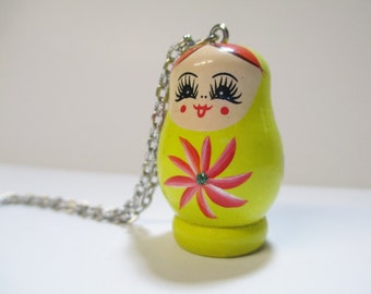 Yellow Russian Doll Matryoshka Necklace
