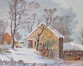 Currier & Ives Beautiful Vintage Color Print, The Old Homestead In Winter, 12 x 10 in, Vintage Book Page Print
