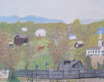 Grandma Moses, Falling Leaves, 1961  -  Color Print/Unframed Vintage Book Page--10.5 x 7 in