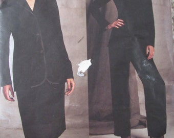 Vogue 2602/Misses/Women's Sewing Pattern/Bill Blass/Lined Jacket, Skirt and Pants/Size 12/Bust 34/2001