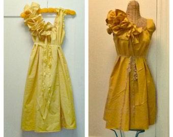 Autumn Gold Dress Custom Mustard, Yarrow, Reversible Citrine Gold Ruffle Maternity Bridesmaid or Baby Shower Fall Knee Length Patisserie