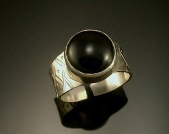 Black Spinel Sterling Silver Adjustable Ring- Free Standard US Shipping