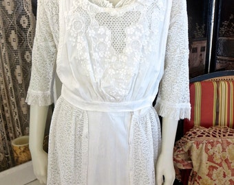 1915 Teens Edwardian Highly Detailed Ivory White Tea Dress Lace Embroidery Vestover With Peplum 36 Bust
