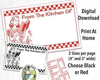 Retro Kitchen Labels Printable Digital Download DIY Vintage Clip Art Image Tag Scrapbook Collage Sheet From The Kitchen Of