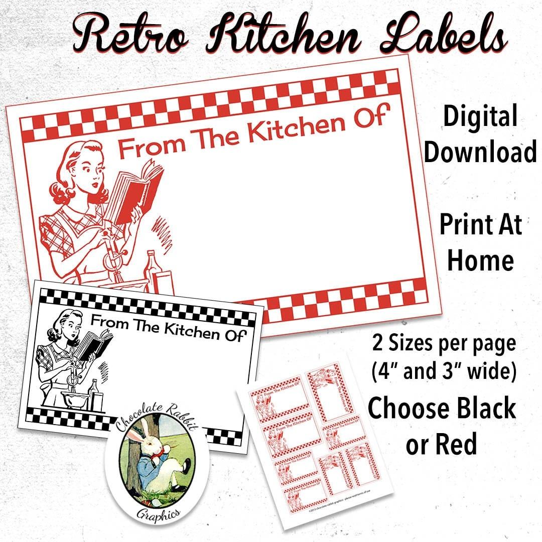 Retro Kitchen Labels Printable Digital Download DIY Vintage
