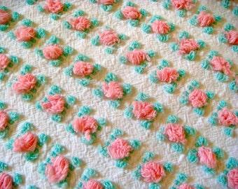 Vantona Pink Rosebuds Vintage Cotton Chenille Bedspread Fabric 12 x 24 Inches