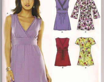 Misses Knit Top New Look 6782 Pullover Top, V Neckline, Sleeveless, Short or Long Sleeve, Midriff Band, Easy to Sew Pattern, 8 - 18 Uncut