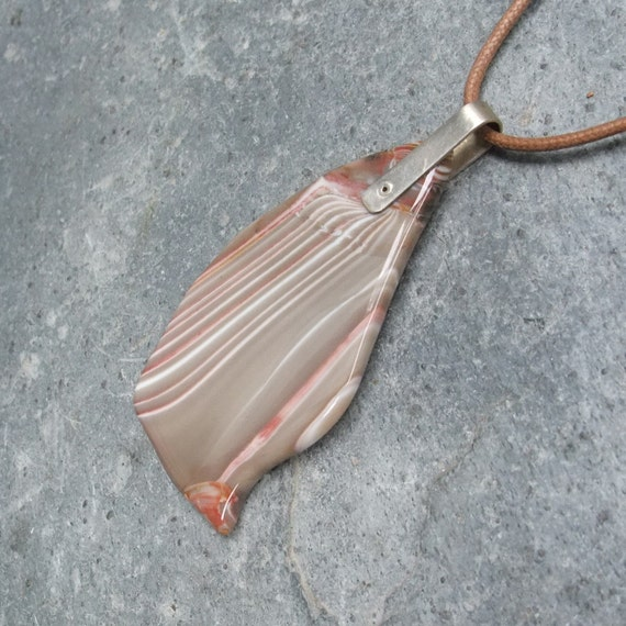 Jasper necklace - Ribbon stone pendant - handmade in Australia - beige pink soothing crystal jewellery