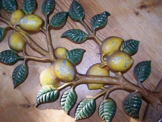 Large Cast Metal Wall Hanging Lemon Tree Fruit Topiary