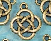 10 Celtic Knot Charms Bronze (17104) Irish Celtic Charms Celtic Knot Pendants Jewelry Making Supplies Vintage Filigree Design  Bulk Charms