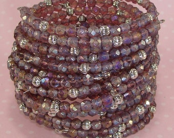 6 Bracelets Iridescent Amethyst Crystal Faceted Fire Polish Silver Bead Bangle Set Memory Wire Bridesmaid Party Favor Valentine's Day Bulk
