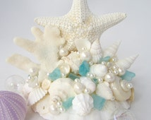 Beach Wedding Starfish Cake Topper - Wedding Cake Topper w Lg. White Starfish, Shells,Pearls & Sea Glass