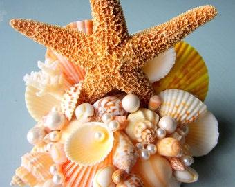 Beach Wedding Cake Topper, Nautical Wedding Cake Topper, Starfish Cake Topper, Shell Cake Topper, Seashell Cake Topper - #CTSUG