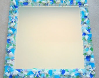 Beach Decor Custom Sea Glass & Shell Mirror - Seashell Mirror w Beach Glass - Square,  Any Color