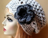 Womens Hat, Slouchy Beret, Gray White Twist, Flower, Chunky, Warm, Teens, City Hat, Birthday Gifts, Gifts for Her, JE222BT6