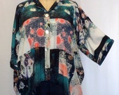 Coco and Juan Plus Size Top Lagenlook Art to Wear Galaxy Print High Low Shirt Jacket OS 1X 2X 3X Bust to 64 inches