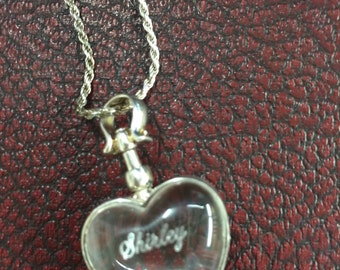 Sterling Silver Crystal Puffy Heart Necklace with the name Shirley Engraved
