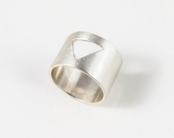 Sterling Silver triangle cut out band ring