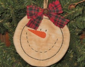 Primitive Snowman Stitchery Christmas Ornament