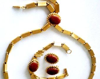 Vintage Necklace Earring Bracelet Set Goldstone Dangle Gold Metal Boho Copper Orange 1960s
