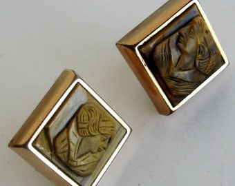 Vintage Earrings Tigers Eye Intaglio Athena Greek Profile Cabochon Screw Back 1950s